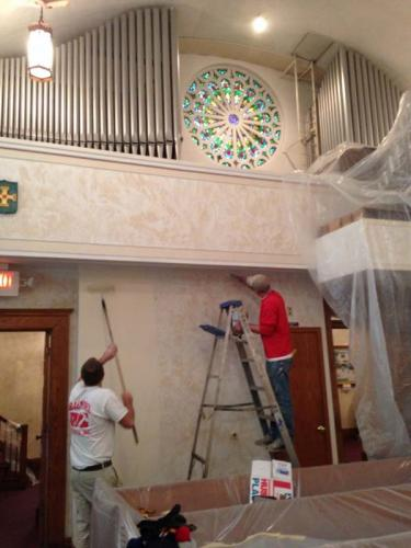 Some of the Braendel crew in the middle of a historical restoration project at a church.