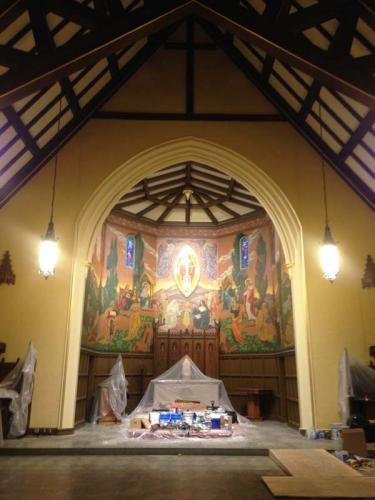 The mural in this church is once again beautiful and vibrant after restoration efforts are complete.