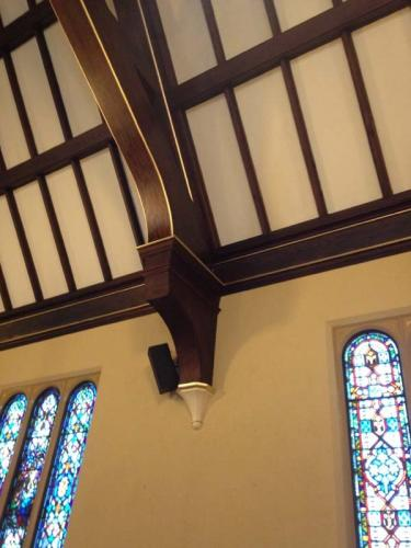 The final product. These beams and wood details look as good as new after being restored!