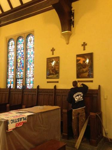 Braendel restoring the interior of an old church.